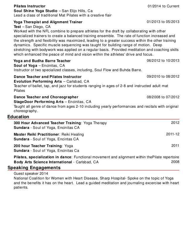 pilates instructor resume pilates instructor resume resume cv