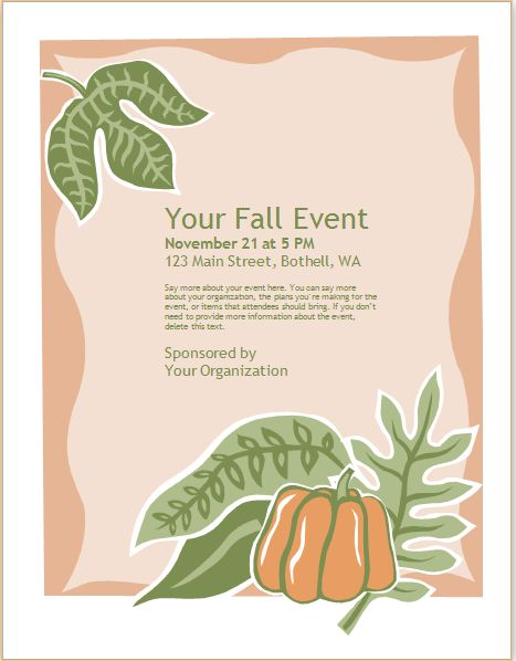 Seasonal Event Flyer Template MS Word | Word Document Templates