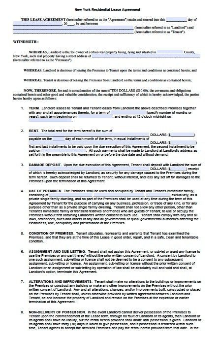 Free New York Standard Residential Lease Agreement Templates – PDF