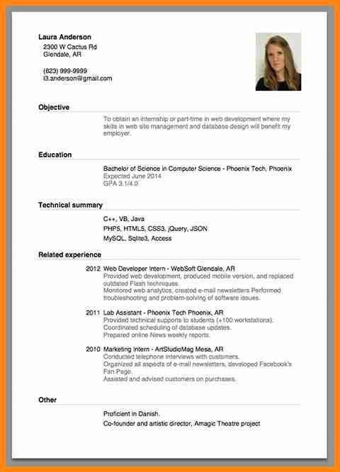5+ internship cv format | model resumed