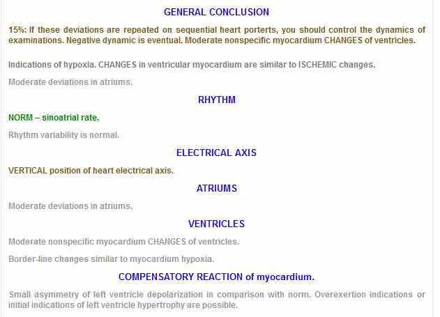 Kardi.Ru - Heart Control -Cardiovisor example of conclusion