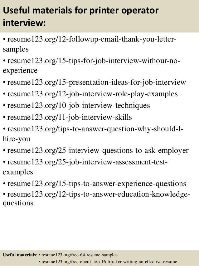 Top 8 printer operator resume samples
