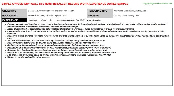 Gypsum Dry Wall Systems Installer Resume Sample