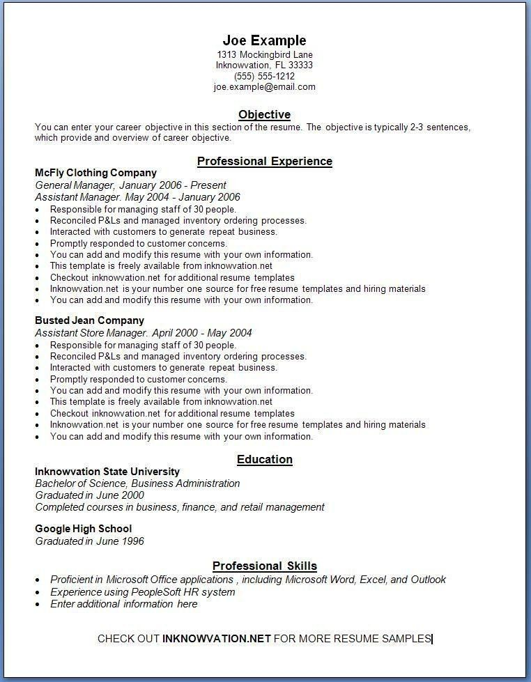 Free Example Resume. Example Of Resume Format For Teacher Free ...