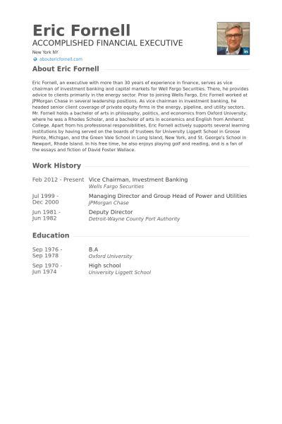 Investment Banking Resume samples - VisualCV resume samples database