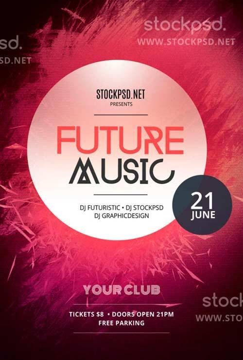 Download Future Music Free PSD Flyer Template for Photoshop