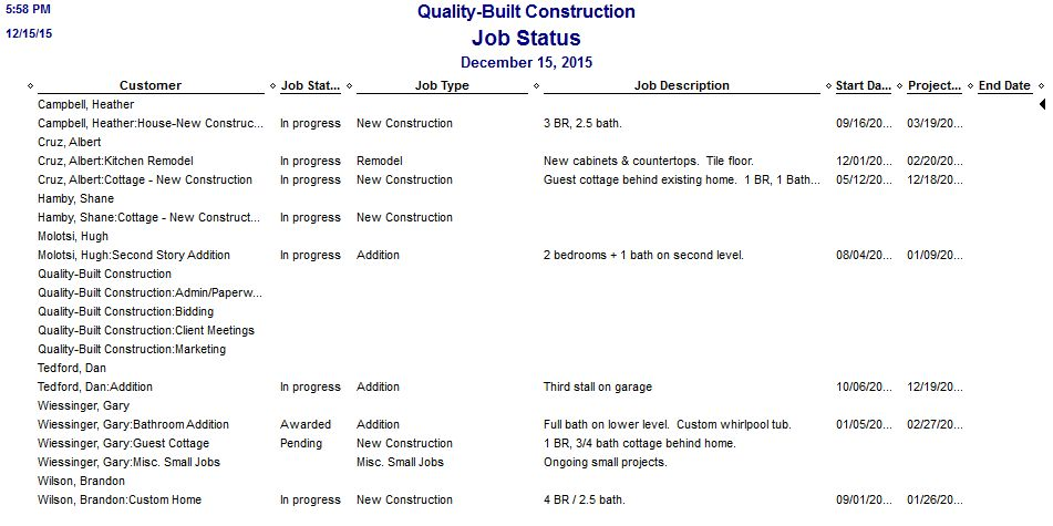 QuickBooks Job Cost Reports For Construction Companies