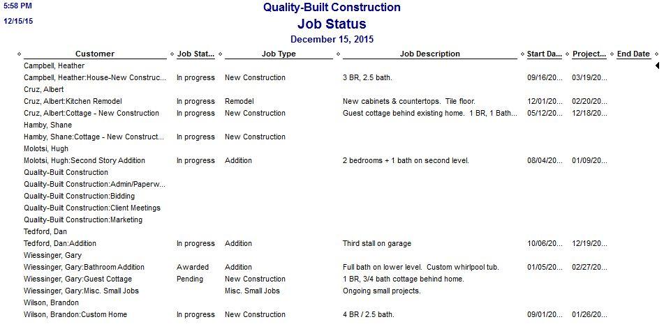 Quickbooks Job Status Report For Construction