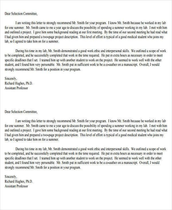 Medical School Recommendation Letter Sample - 8+ Examples in Word, PDF