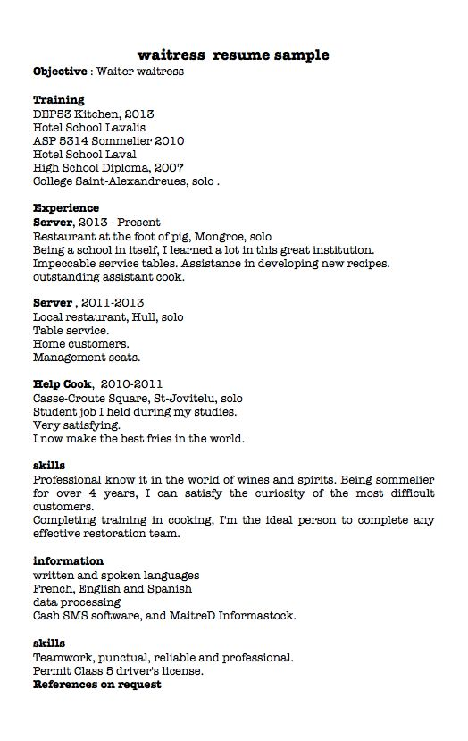waitress / server resume examples - RESUMEDOC