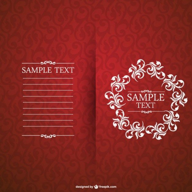 Red invitation with floral frame Vector | Free Download