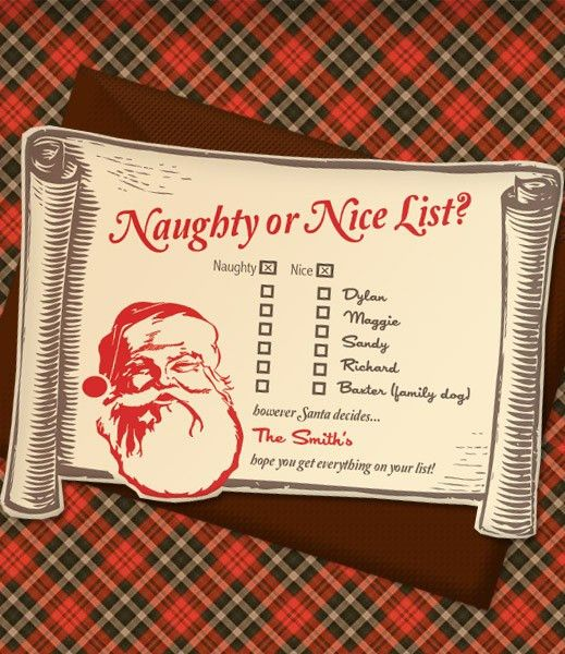 Cute printable Christmas Naughty or Nice List party invitation ...