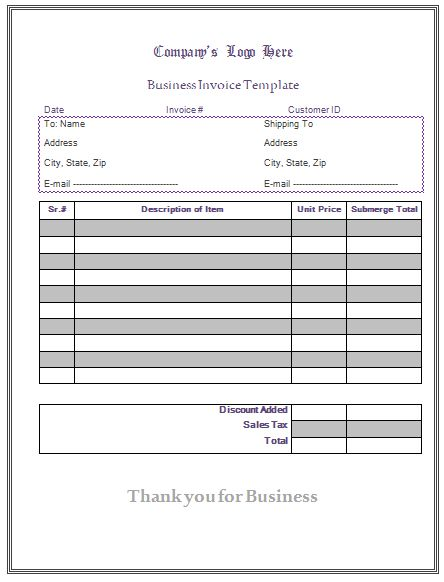 General Invoice Template - Microsoft Word Templates