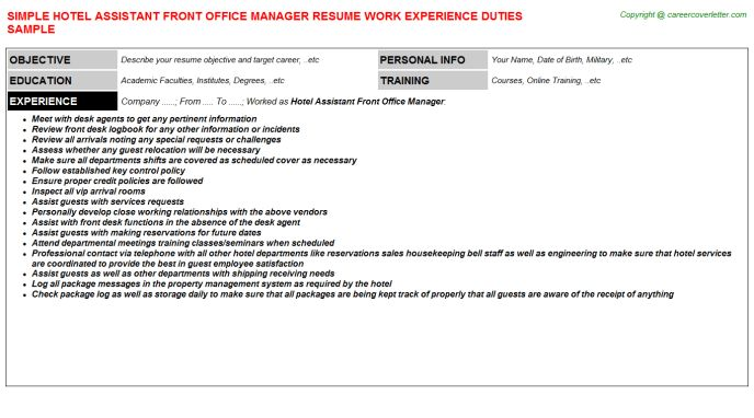 Hotel Assistant Front Office Manager Resume Sample