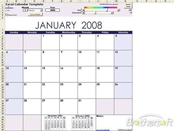 Download Free Excel Calendar Template, Excel Calendar Template 1.4 ...