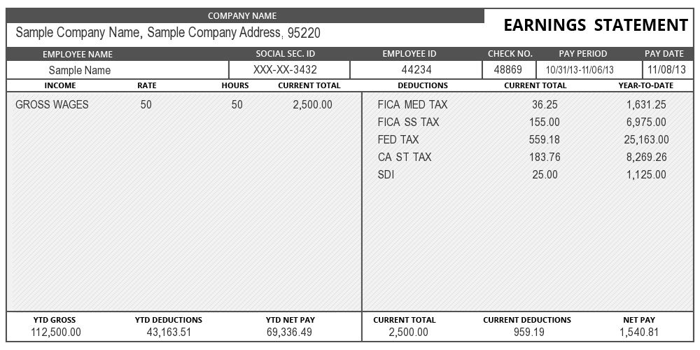sample of Pay Stub Information | instant pay stub