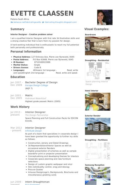interior designer resume objective