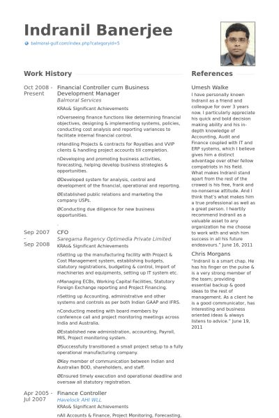 Financial Controller Resume samples - VisualCV resume samples database