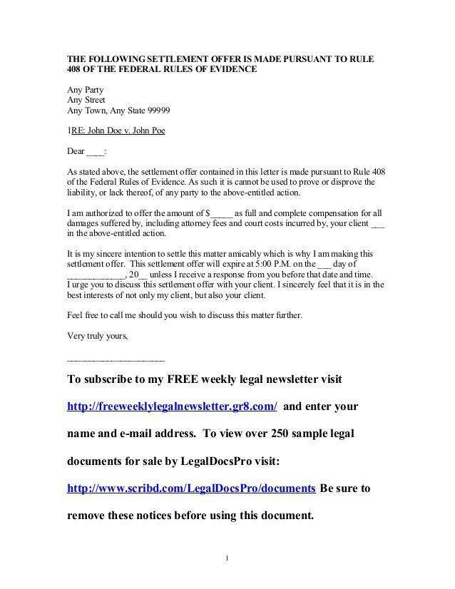 Sample settlement offer under Federal Rule of Evidence 408