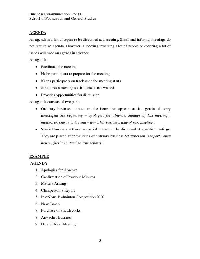 small business meeting agenda - Template
