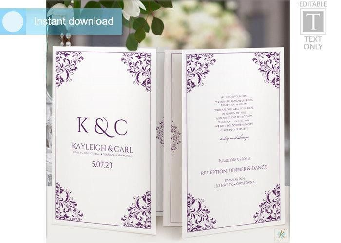 Wedding Program Template (Foldover Booklet) #2558579 - Weddbook