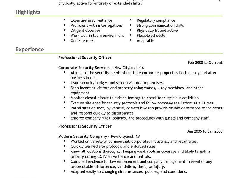 Strikingly Inpiration Security Guard Resume Sample 14 Best ...