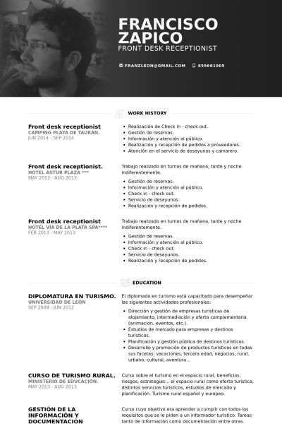 Front Desk Receptionist Resume samples - VisualCV resume samples ...