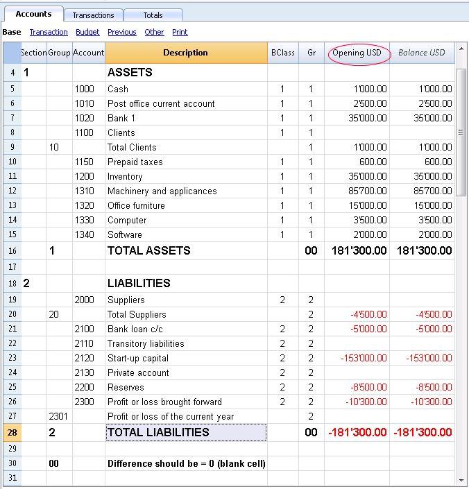 Accounts   Banana Accounting 7