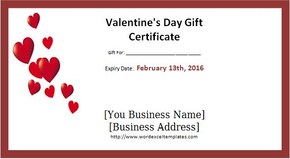 Editable & Printable Valentine's Day Gift Certificates | Word ...