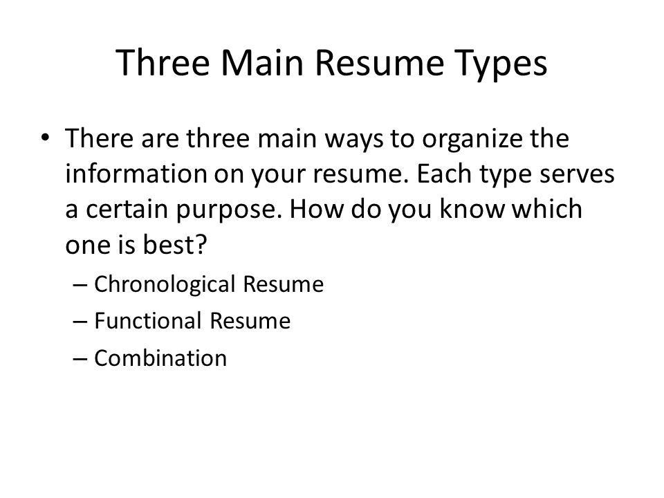 The Résumé A resume tailored to fit the job you are applying for ...