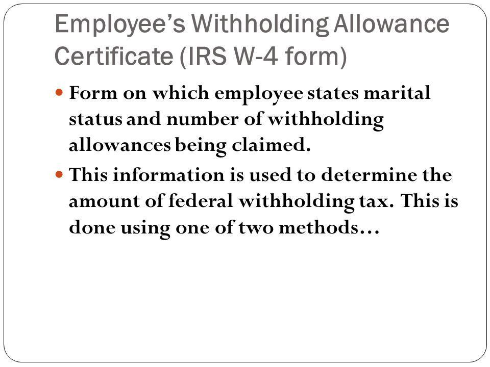 Income Tax Withholding Section 6.4. Employee's Withholding ...