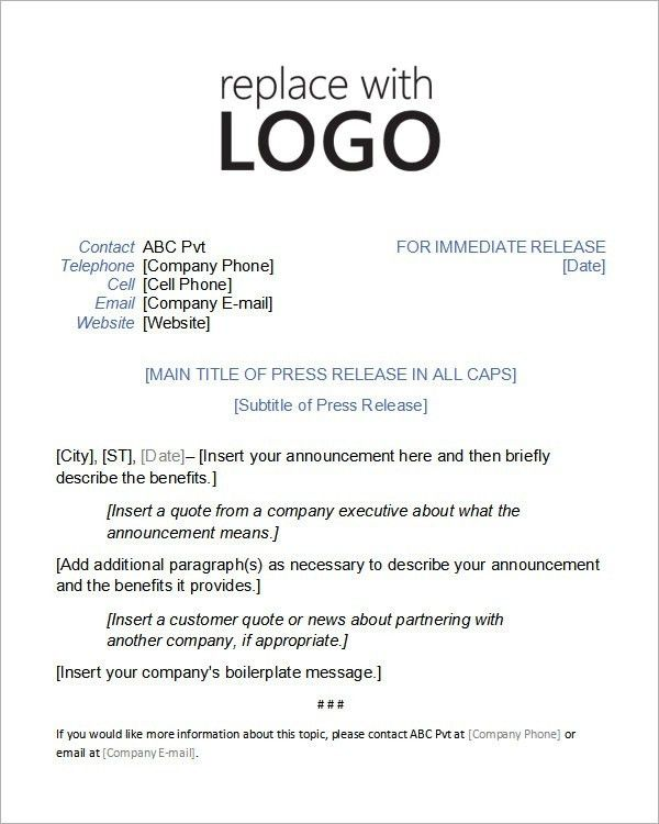 Sample Press Release Templates – 7+ Free Documents Download In ...
