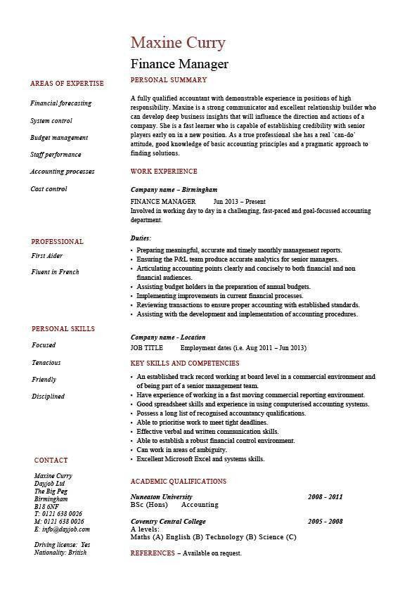 Download Finance Resume Template | haadyaooverbayresort.com
