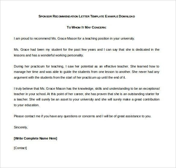 Reference Letter Template - 37+ Free Sample, Example Format | Free ...