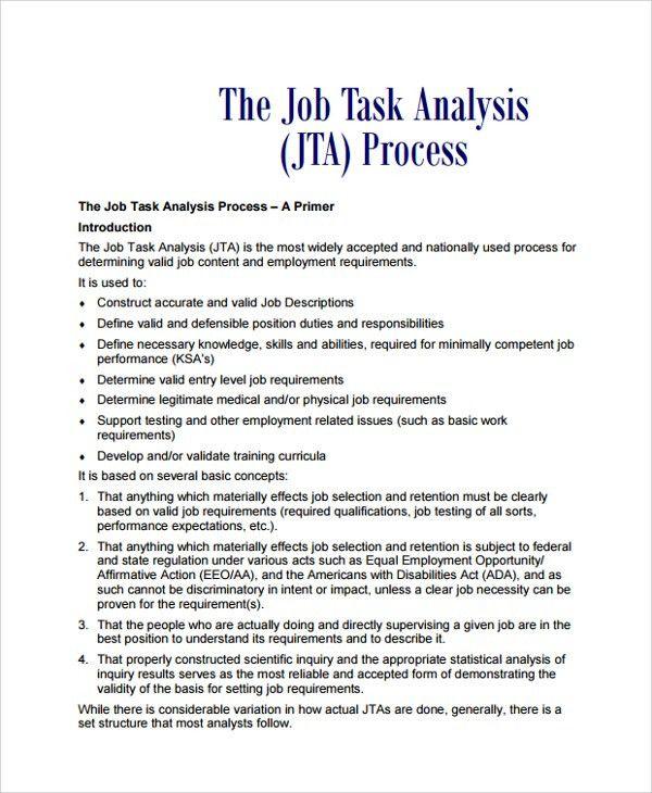 Sample Job Task Analysis - 6+ Documents in PDF, Word,