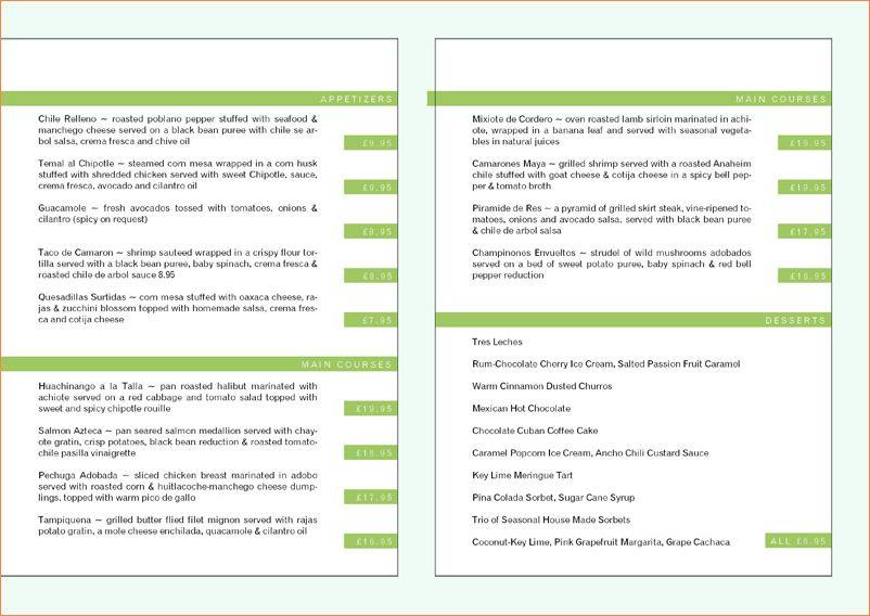 6+ restaurant menu templates free   Procedure Template Sample