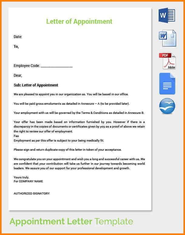 Sample Appointment Letter. 4+ Appointment Letter Sample Doc ...