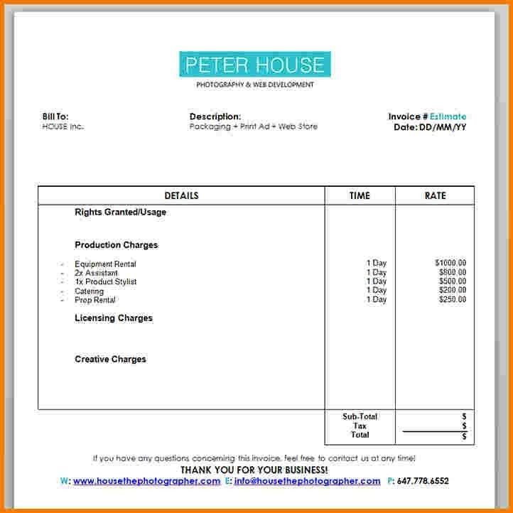 5 photography invoice | Receipt Templates