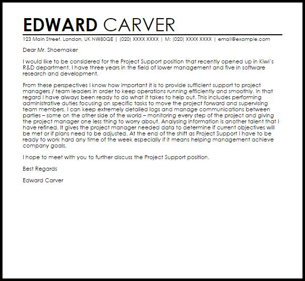Project Support Cover Letter Sample | LiveCareer