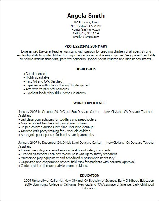 cover letter and resume. early childhood education student resume ...