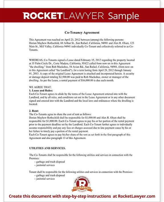 Co-Tenancy Agreement Form - Co-Tenant Contract Sample
