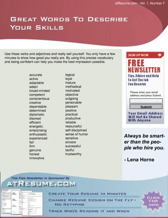 Awesome Words To Describe Yourself On Resume | Resume Format Web