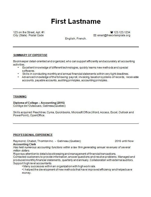 CV Bookkeeper resume example and sample – Free CV Template dot Org