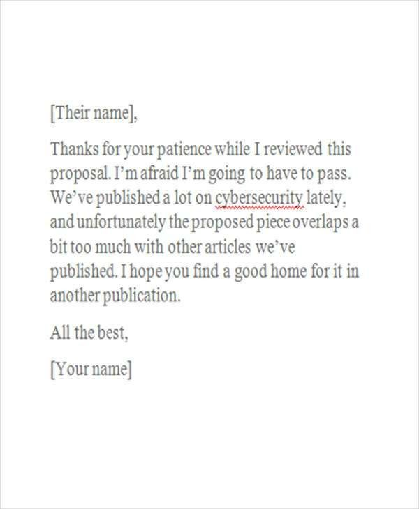 Business Rejection Letter Templates - 7+ Free Word, PDF Format ...