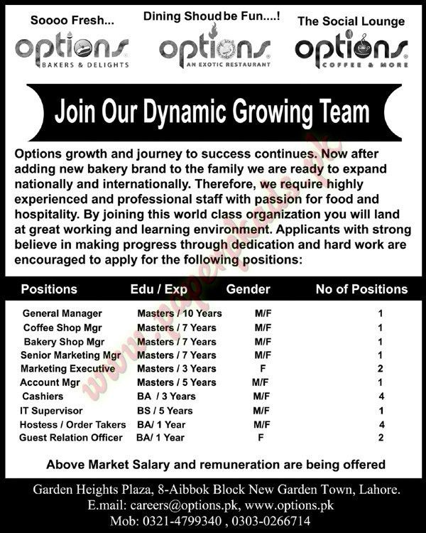General Manager, Coffee Shop Manager, account Manager, IT ...