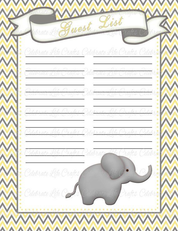 Baby Shower Guest List Printable Baby Shower Party