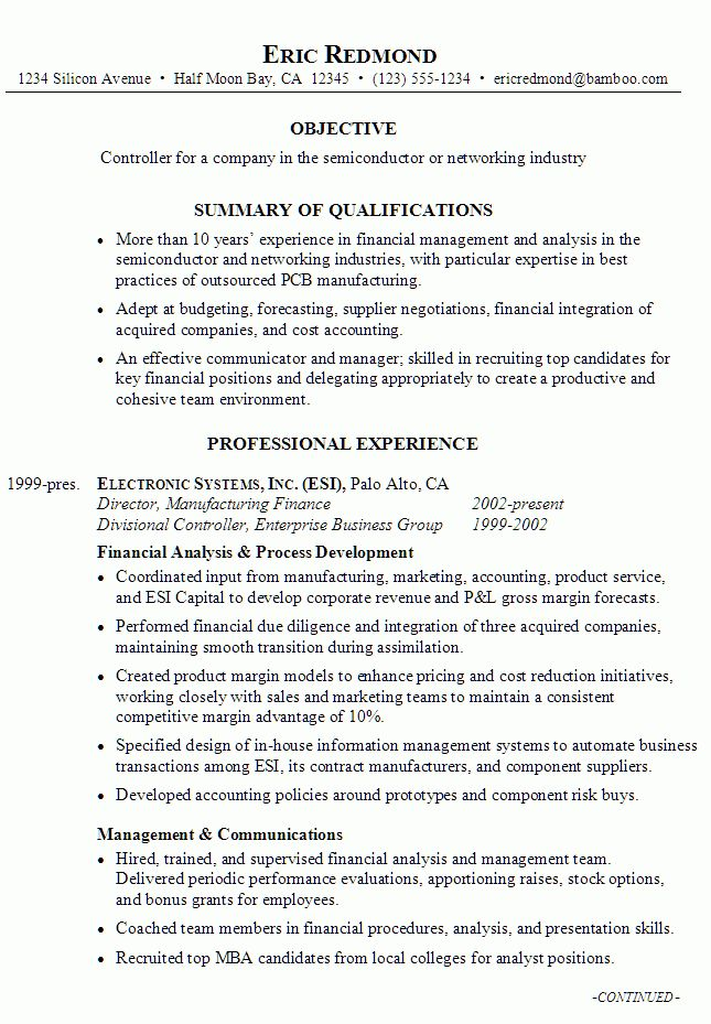 Resume Example for a Controller - Susan Ireland Resumes