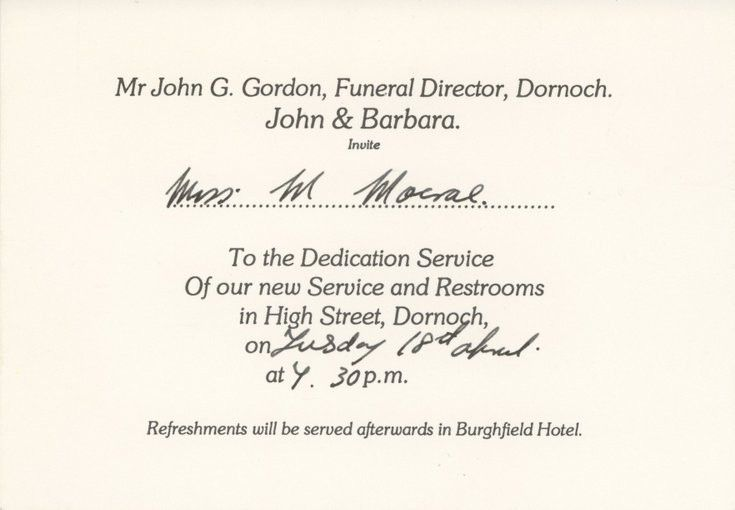Dornoch Historylinks Image Library - Invitation to the dedication ...