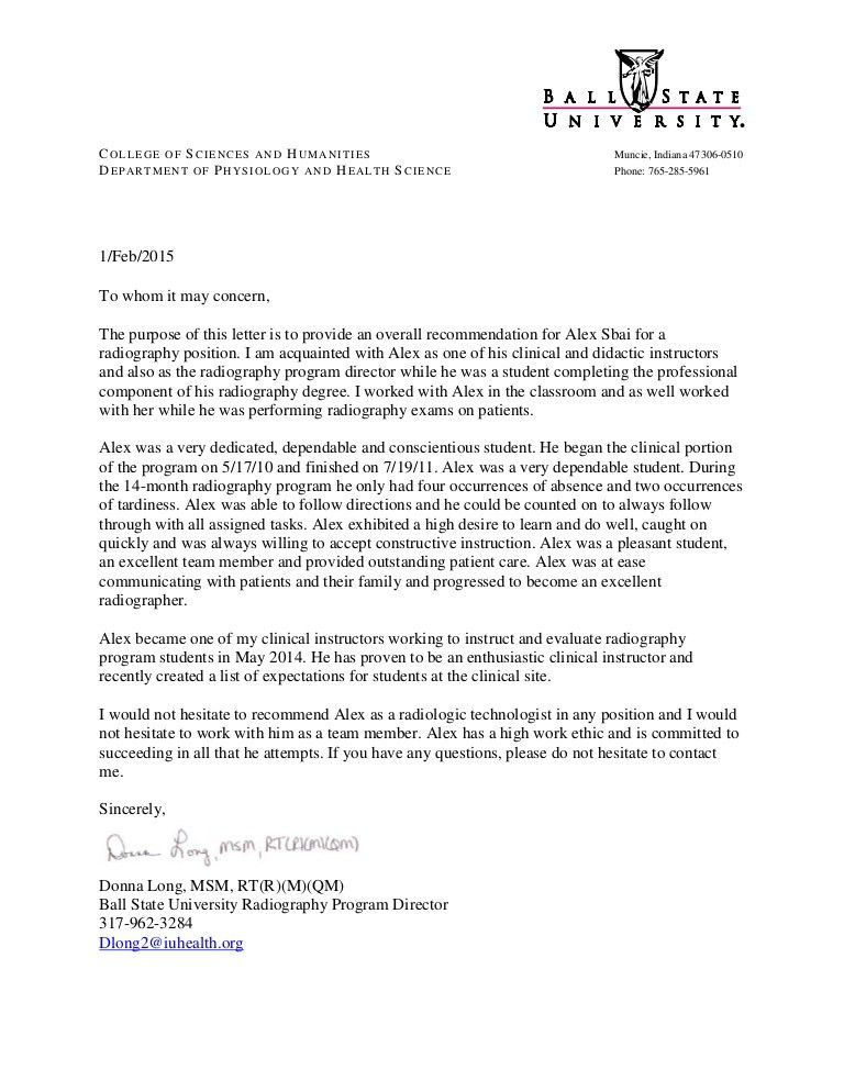 Sbai general recommendation letter