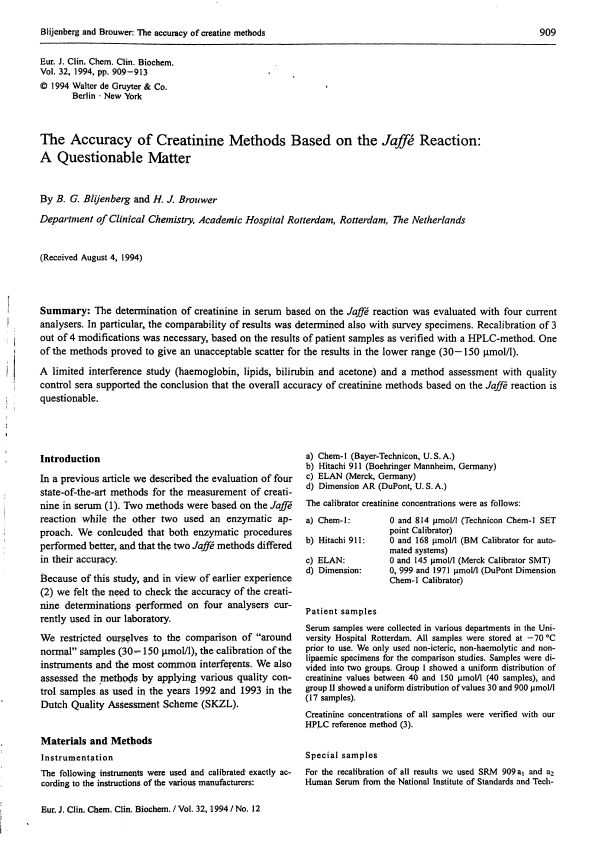 The Accuracy of Creatinine Methods Based on the Jaffé Reaction: A ...